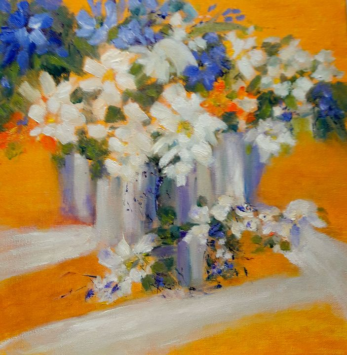 Flowers in Yellow - Aase Lind Art