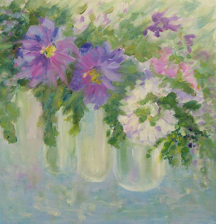 FLOWERS in Violet/White no 2 - Aase Lind Art