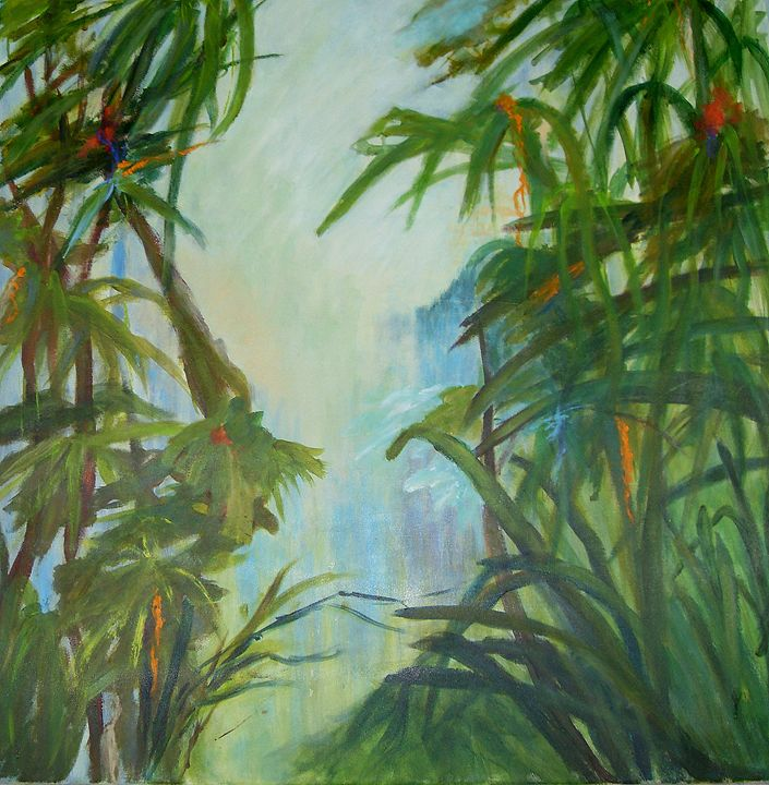 Tropical Garden Green Sold Aase Lind Art Paintings Prints Abstract Landscape Artpal