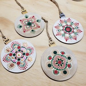 Hand painted 4 pc. Ornament set