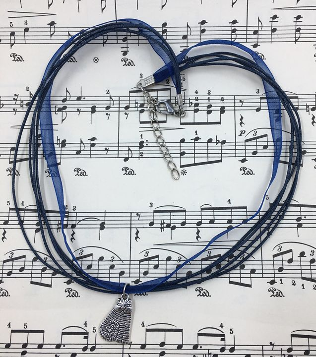 Stripe Kitty Navy Ribbon Necklace - Silkartist