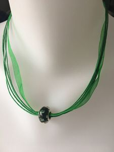 Green PawPrint Bead Ribbon Necklace