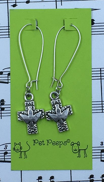 Cross & Dove Dangle Earrings - Silkartist