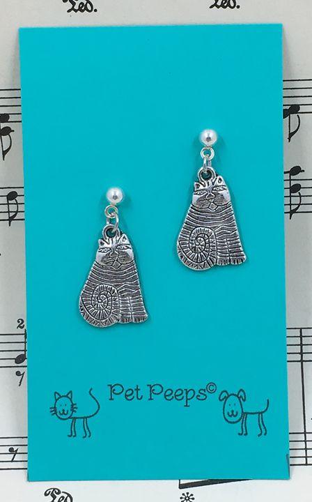 Striped Kitty Post Earrings - Silkartist