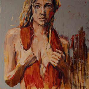 Girl in a red shawl - MikolajczakArt