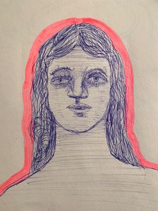 Pen Sketch Portrait Of A Woman