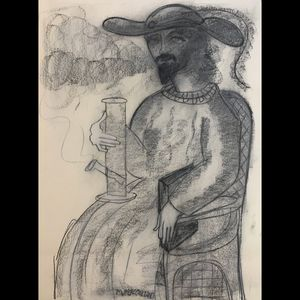 Stoned poet large charcoal drawing