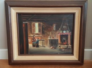 Parent/child sitting by fireplace - JFP Oil Paintings
