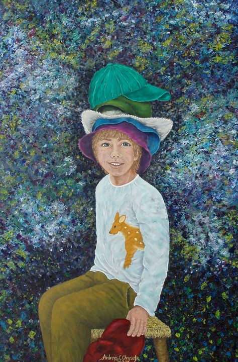 BOY IN MANY HATS - Andreas C Chrysafis Art