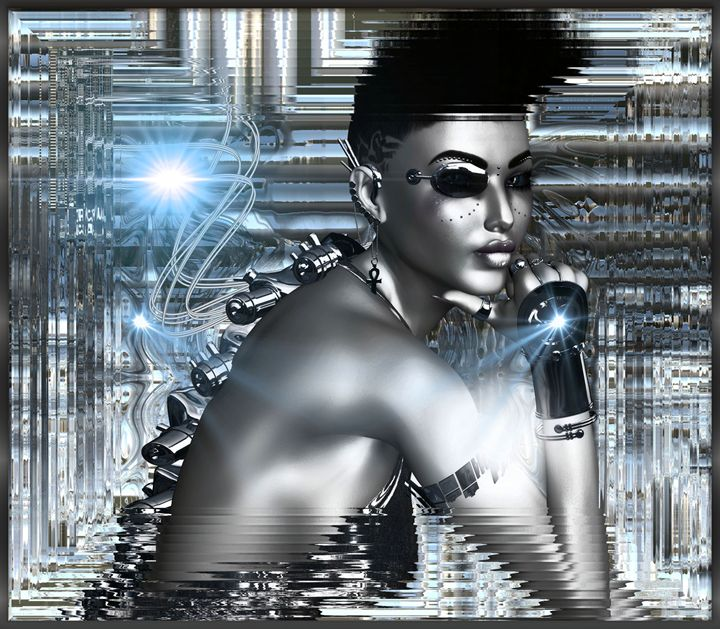 Sexy android on silver abstract - TK0920