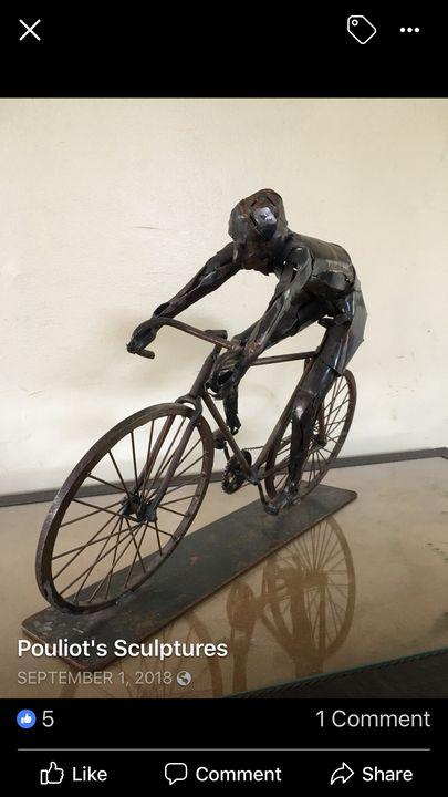 Bicyclist - Original Metal Sculptures by Gary