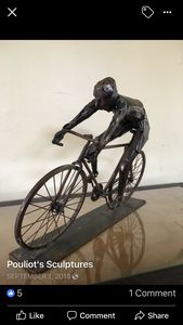Bicyclist - Original Metal Sculptures by Gary