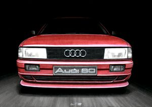 FRONT VIEW OF THE AUDI 80 CAR IN RED