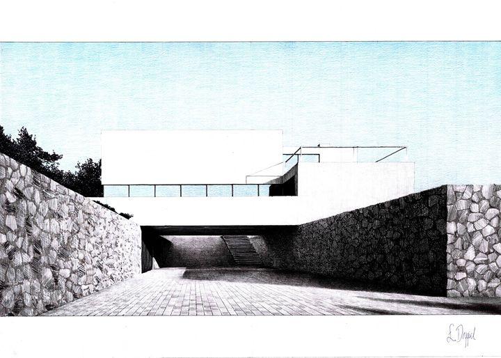 Modern house in grey and blue - Łukasz Jan Drygiel