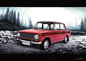 RUSSIAN LADA IN RED IN MOUNTAINS