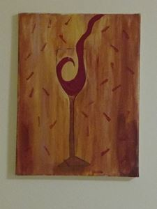Pouring wine acrylic canvas painting