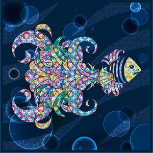 Colorful Paisley Fish in Water
