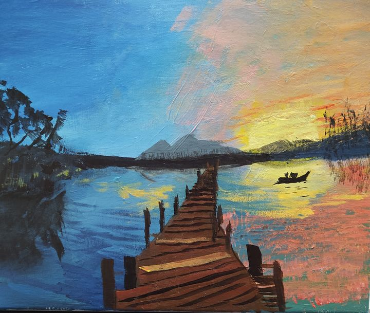 Sunset Lake--SOLD - Homemade Arts by Bill Ludwig
