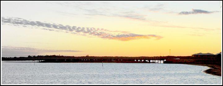 Sunset over bridge - LynneE