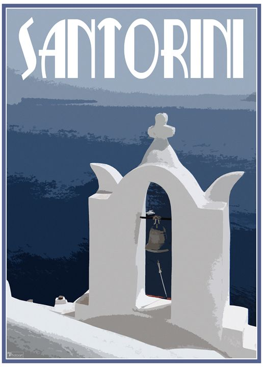 Santorini Retro Travel Poster - TF Photoart