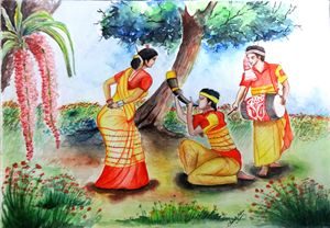 Indian Festival Bihu painting