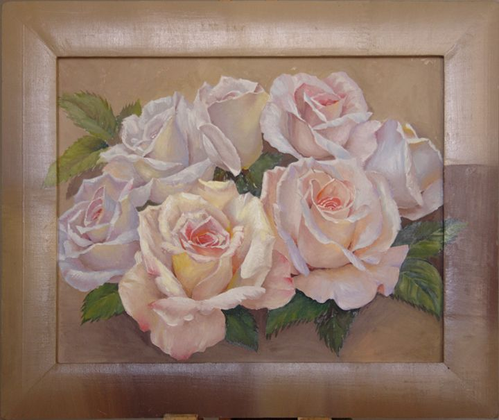 Romantic white roses oil painting - Zhou Hou's painting world