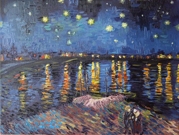 Starry Night over the Rhone - Zhou Hou's painting world