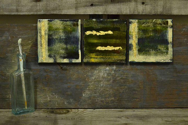Touch of Gold - 3 Wall Art Tiles - ArtByLaurenBritz
