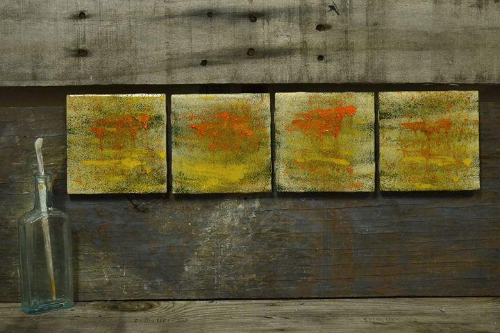 A Spot of Orange - 4 Wall Art Tiles - ArtByLaurenBritz