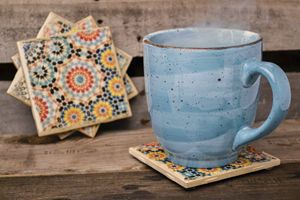 Flower Pattern Coasters - Set of 4