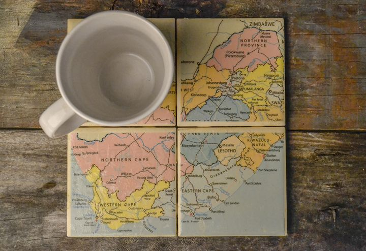 Map of South Africa - 4 set coasters - ArtByLaurenBritz