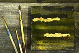 Abstract Acrylic Gold Leaf Tiles