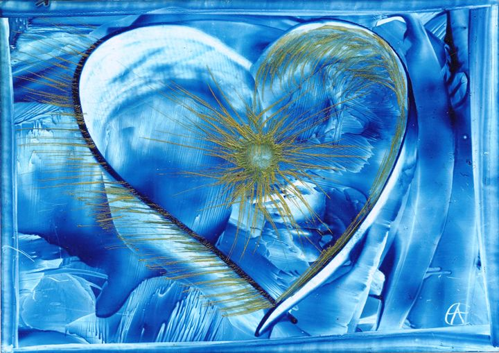 Blue Heart - Golden Light - Angela Egwim - Heart Art