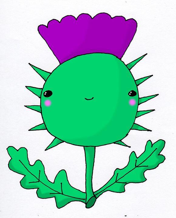 Kawaii Cute Wee Scottish Thistle - Screamingpillow