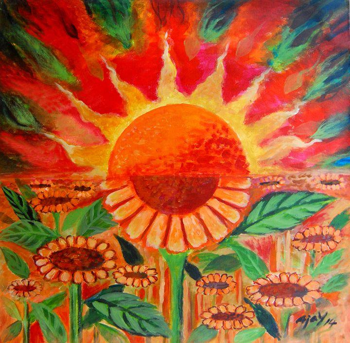 Sun and Sunflower - Ajayparippally
