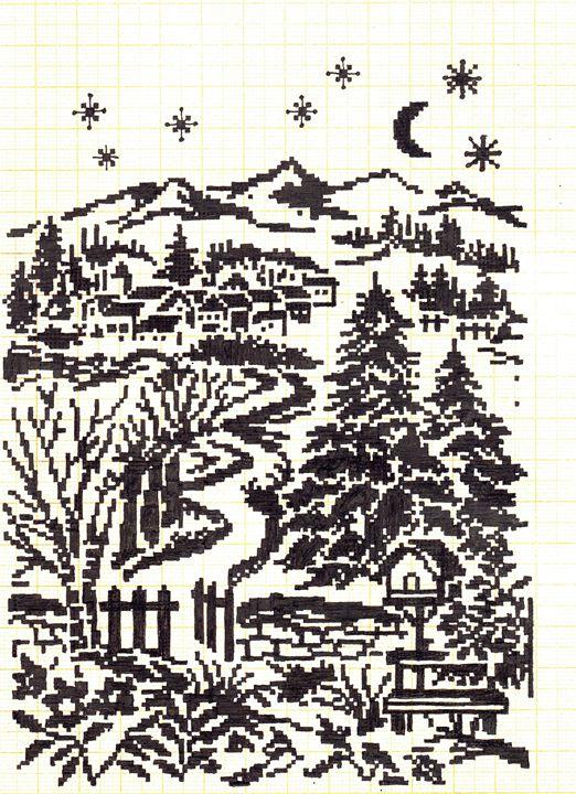 cross stitch  forest - Tutukombo