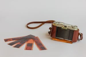 old camera with negative