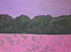Pink evening in the mountains