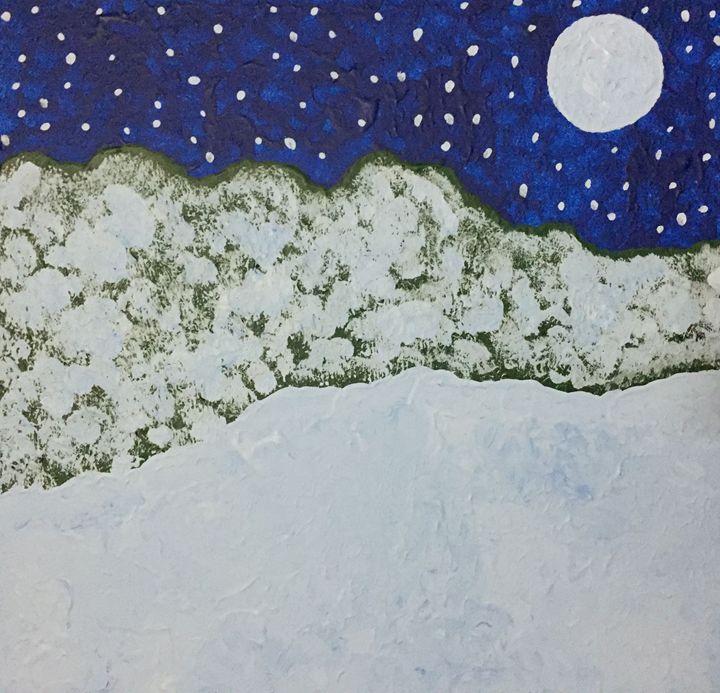 Moon over winter forest - GI ART