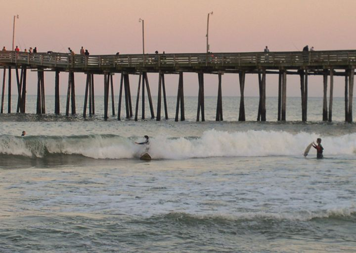 Surfing by the Pier - Ben Salomonsky Photographic Designs