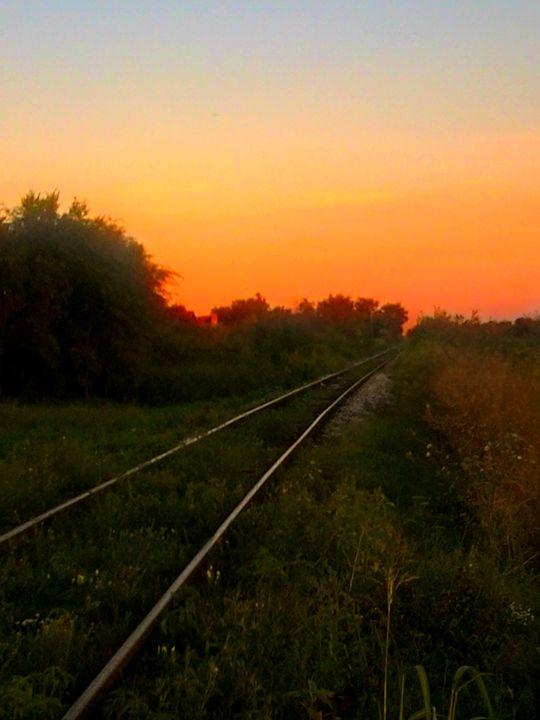 Sunset on the railroad - ARTchibald
