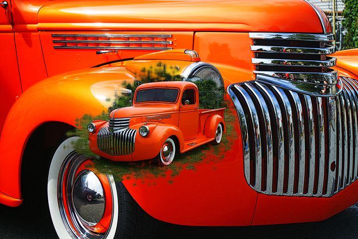 Orange Ford Pickup image in image - R.Harris Photography