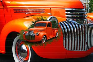 Orange Ford Pickup image in image