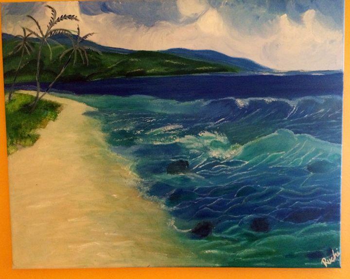 Waves and Beach - Ruchi Jain's Art Gallery