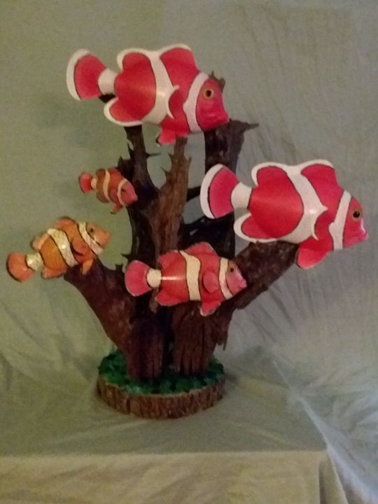 Clownfish on Driftwood - Seascapes