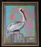 16X20 acrylic pelican painting-frame