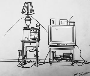 TV and stand and stuff