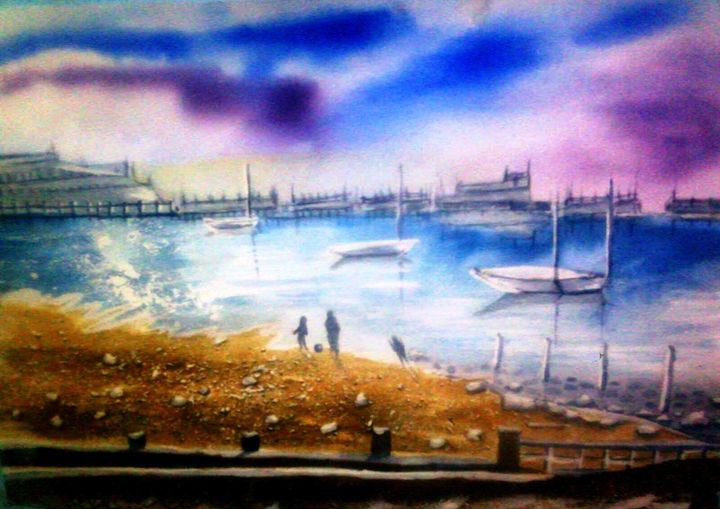 the BEACH - WATER COLOUR LANSCAPE PAINTING