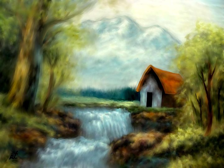 Cabin by the river by rafi talby - RAFI TALBY - PAINTER