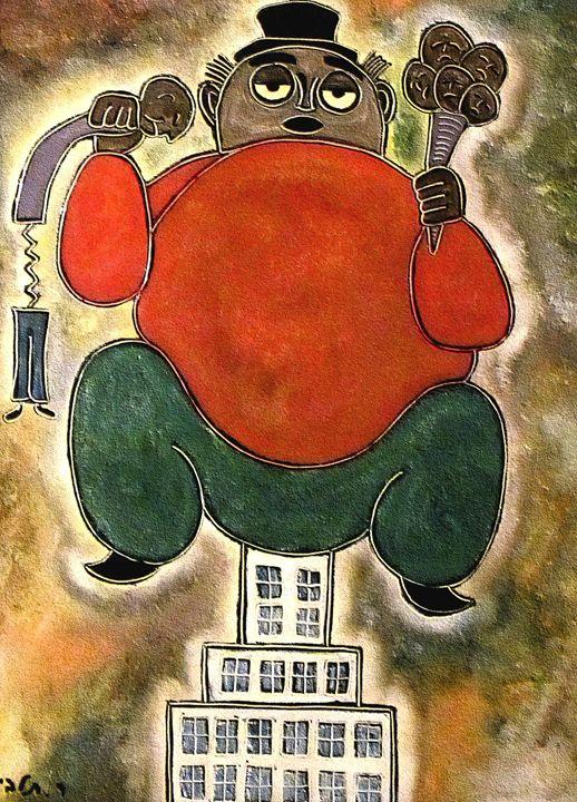 Man sitting by rafi talby - RAFI TALBY - PAINTER